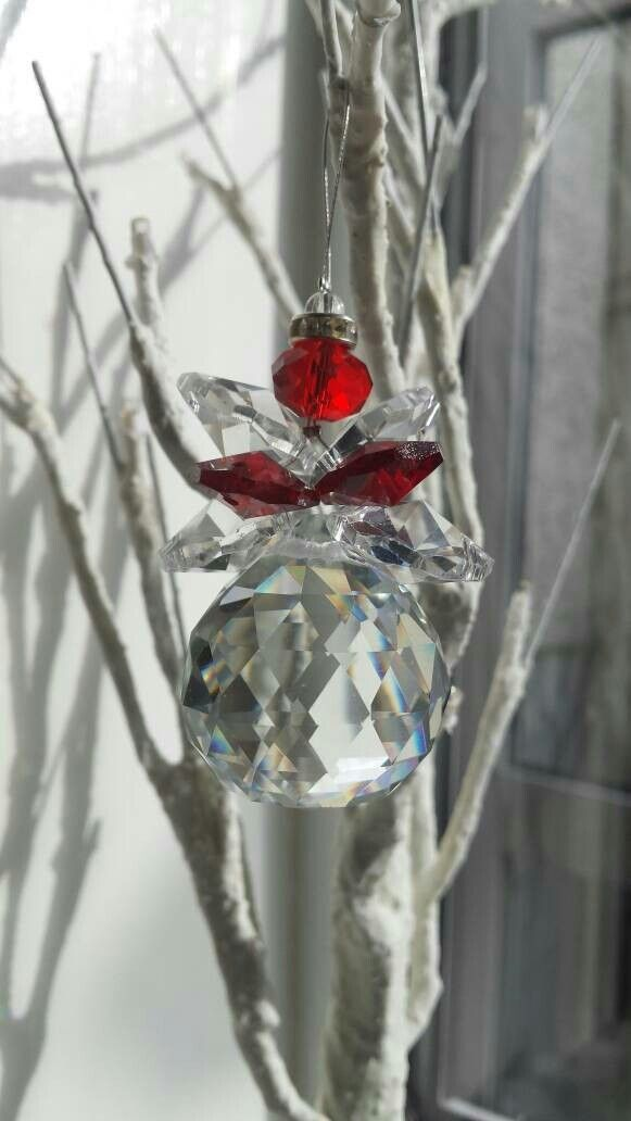 Excited to share the latest addition to my #etsy shop: Christmas tree decorations #Glass prism #Angels #Christmas decorations #ornaments #festive # #housewares #homedecor #red #christmas #clear #entryway #giftsformum #suncatcher http://etsy.me/2mguHp3