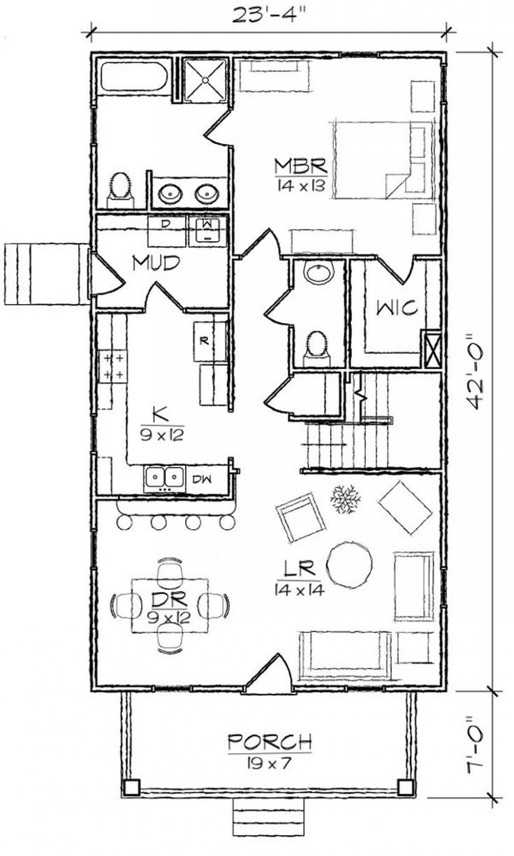653974 Bungalow 3 Bedroom 2 Bath Narrow House Plan House Plans Floor