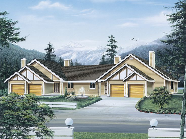 24 best duplex single story ranch homes images by richard for Single story multi family house plans
