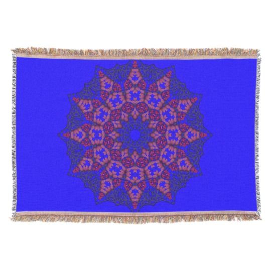 3D Art Mandala Throw Blanket by www.zazzle.com/htgraphicdesigner* #zazzle #throw #blanket #throwblanket #blue #homedecor #gift #giftidea #mothersday