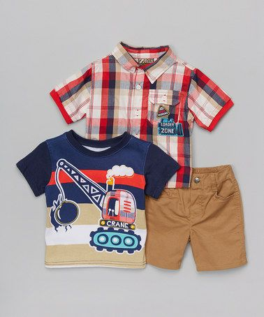 This Beige & Red Plaid 'Loader Zone' Button-Up Set - Toddler is perfect! #zulilyfinds