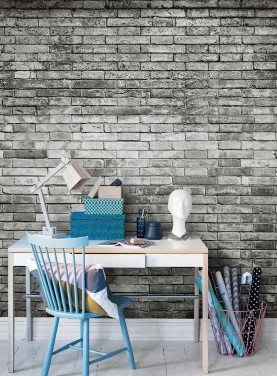 Tegelstenar svartvit tapet | Fototapet | Fondvägg | Happywall