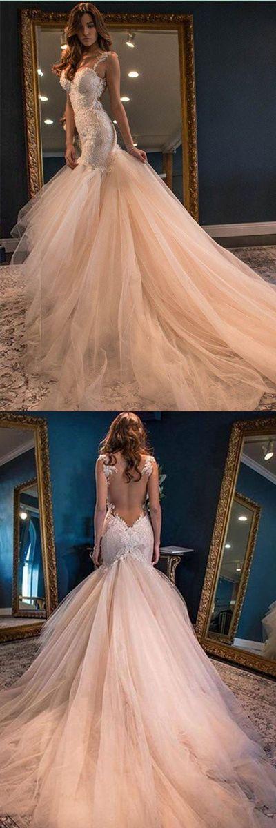 Elegant Mermaid Sweetheart Watteau Train Wedding Dresses