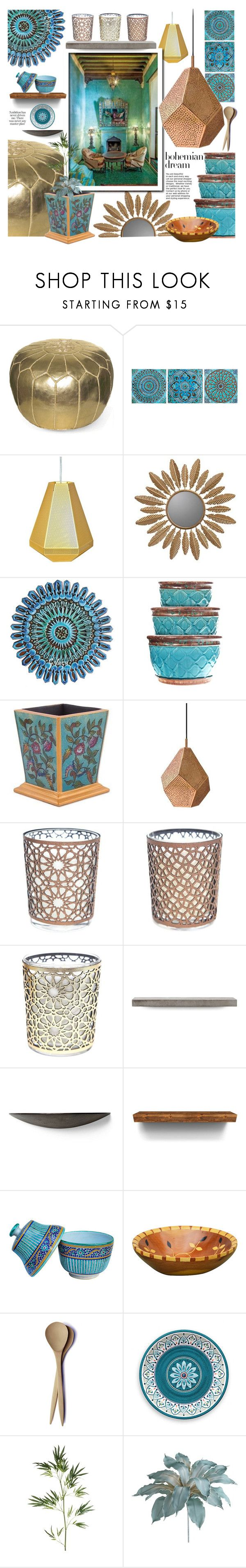 """Bohemian Dream: Moroccan Decor"" by ewa-naukowicz-wojcik ❤ liked on Polyvore featuring interior, interiors, interior design, home, home decor, interior decorating, Tom Dixon, Cooper Classics, NOVICA and Lyon Béton"
