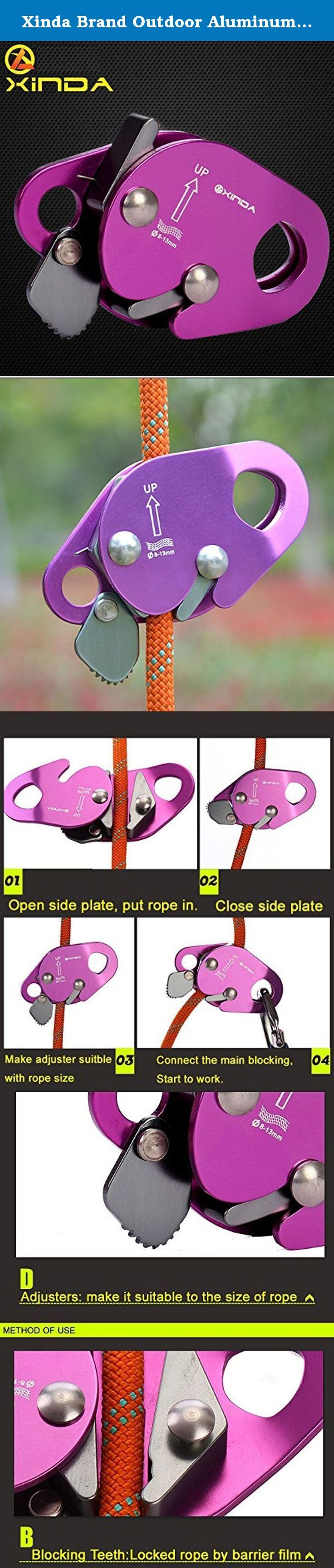 Xinda Brand Outdoor Aluminum Rock Climbing Gear Rope Grab for Mountaineering, Fire Rescue, Aloft work. Name: XINDA Rope Grab Self-lock equipment Material: Hot wrought aluminum magnesium alloy Size: 11.2cm length, 6.5cm width Weight: 168g Suitable rope: 8-13mm diameter rope Features: Hot wrought aluminum magnesium alloy material. Suitable for 8-13mm diameter rope. 11.2cm length, 6.5cm width, 168g only. Connecting hole to connect the main lock. It's role is blocking teeth stuck ropes by…