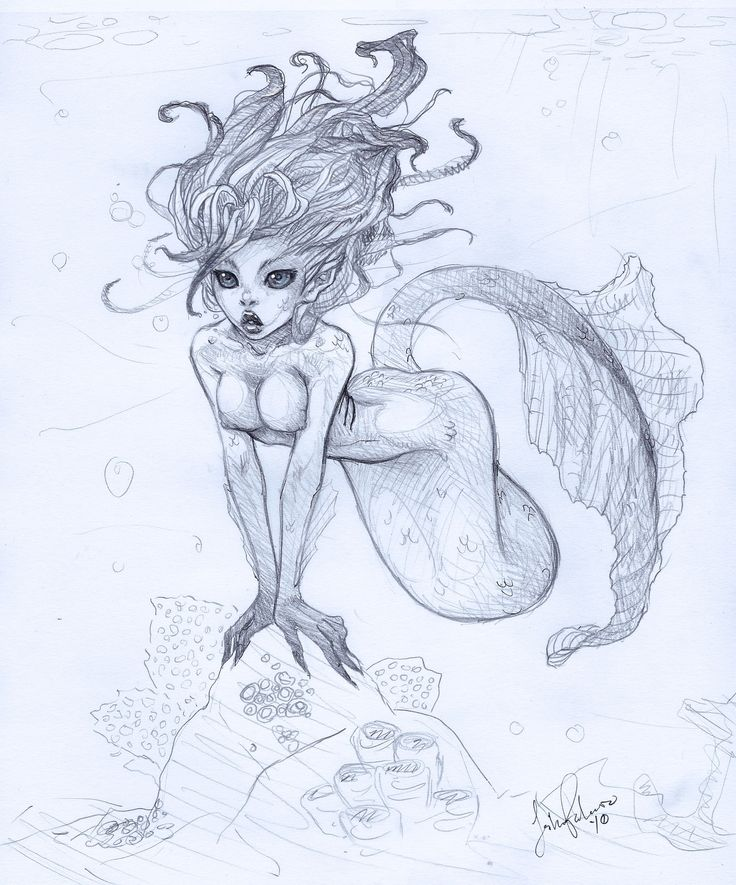 Gorgeous illustration of a beautiful mermaid