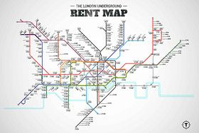 London tube map reflects rental prices at and near the legendary transit system's various stations.