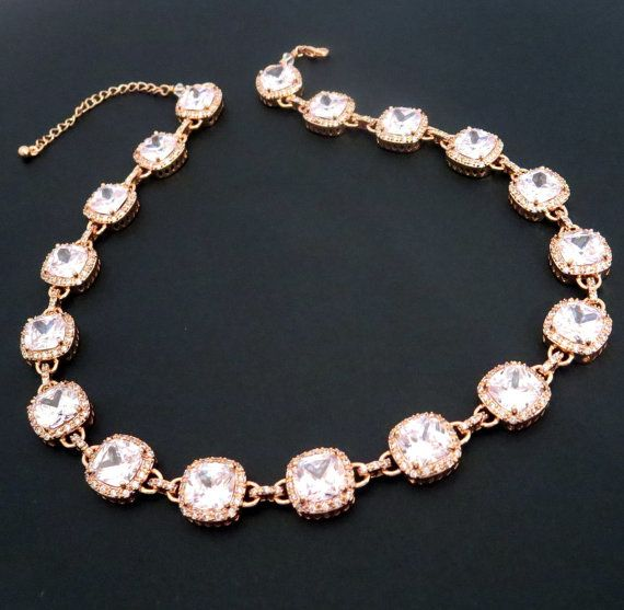 Rose gold Bridal necklace Rose gold statement by TheExquisiteBride, $165.00