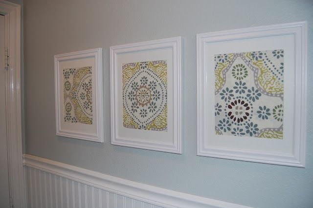 Art made from framing cloth napkins.  Very cool and cheap! - I could do something like this for our bathroom ...