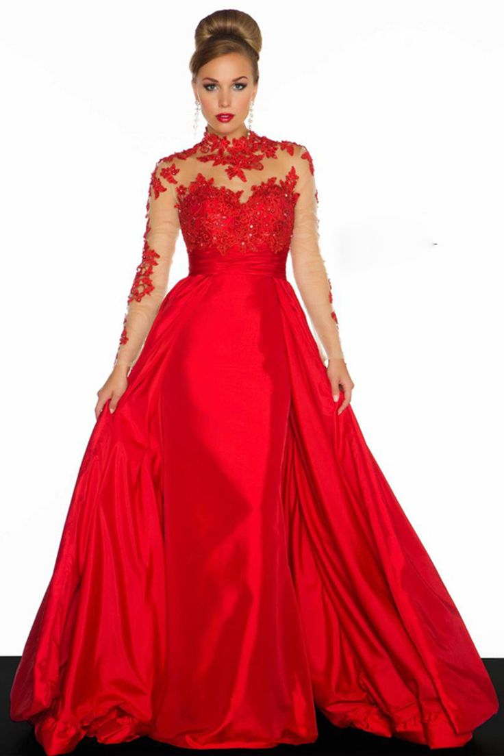 Hot 2017 Ball Gown Long Sleeves Black Red Open Back Appliques Beaded Evening Dresses Prom