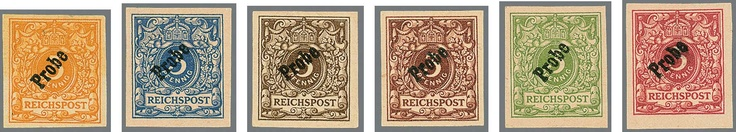 """German Empire, 1889 crown and eagle. 3 Pfg., unused unperforated proofs in the colours gray brown, yellow green, deep red, ultramarine, orange and dark red brown, always with black overprint """"proof"""", yellowish original gum, by three stamps of the plate flaw CP206 (issues 1895 / 96), Michel 4800,-, certificate Petry    Dealer  Rauhut & Kruschel Stamp auction    Auction  Minimum Bid:  1500.00EUR"""