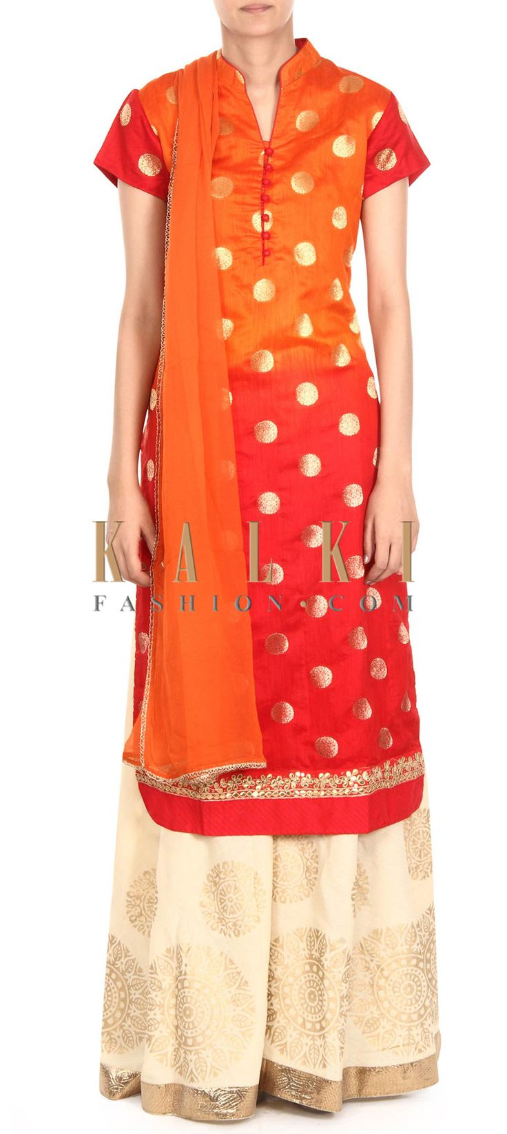 BUy this Orange and red straight palazzo suit in gota lace only on Kalki