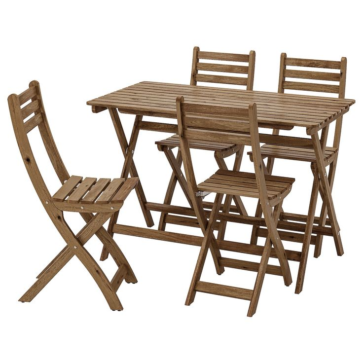 Ikea Askholmen Gray Brown Stained Table And 4 Chairs Outdoor