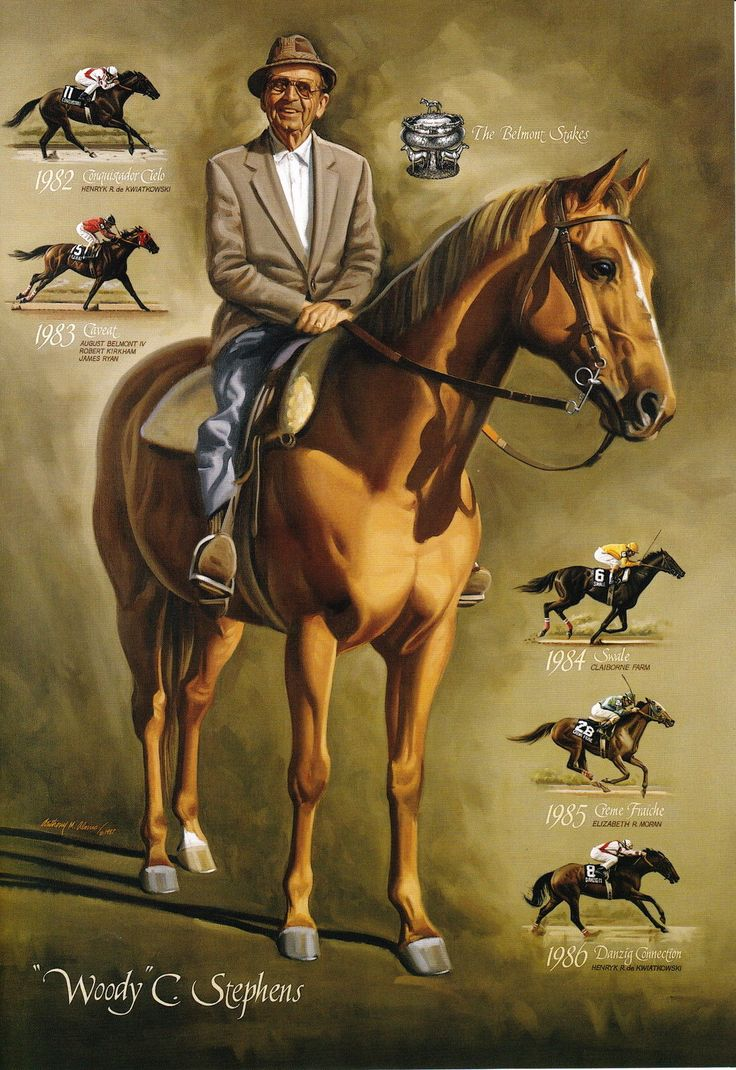 Woody Stephens and his 5 consecutive Belmont Stakes Winners: Conquistador Cielo, Caveat, Swale, Creme Fraiche, Danzig Connection.