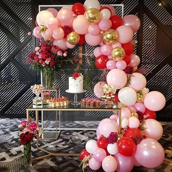 Pink Red And Gold Balloon Arch Garland