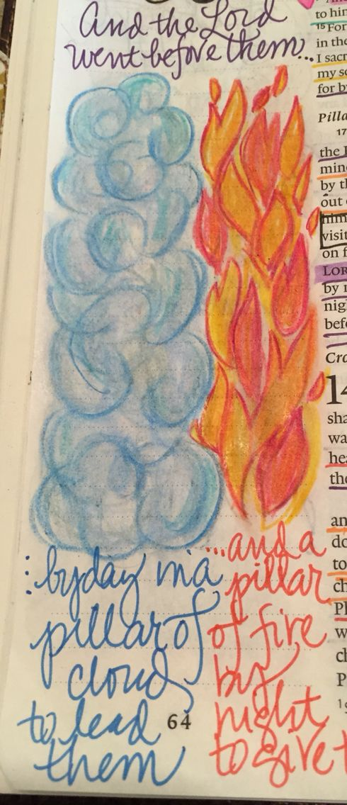Exodus 13:21 Cloud by Day; Fire by Night; Bible Journaling