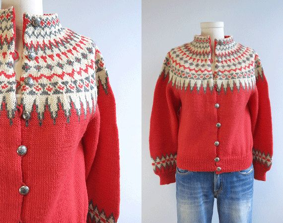 Vintage Nordic Wool Fair Isle Cardigan / 1950s Hand Knit Sweater Coral Pink Red Cream Grey