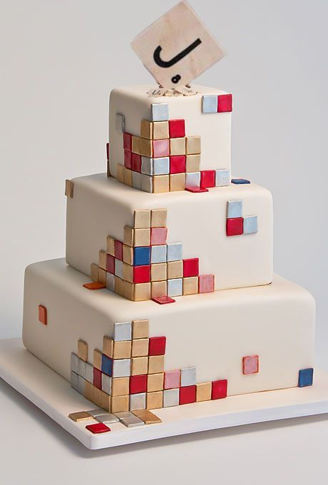 Abstract Scrabble Wedding Cake