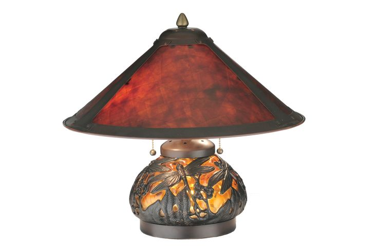 16 Inch H Van Erp Lighted Base Table Lamp. 16 Inch H Van Erp Lighted Base Table LampIn the tradition of American master craftsman DirkVan Erp, this appealing hand painted Dark Bronze frame glows with the warmth of the natural Amber Mica panels within. The shade is supported by a mottled amber blown glass table lamp base with an intricate overlayed filigree of dragonflies in a matching Dark Bronze painted finish. Theme:  INSECTS Product Family:  Van Erp Product Type:  TABLE LAMPS Product...