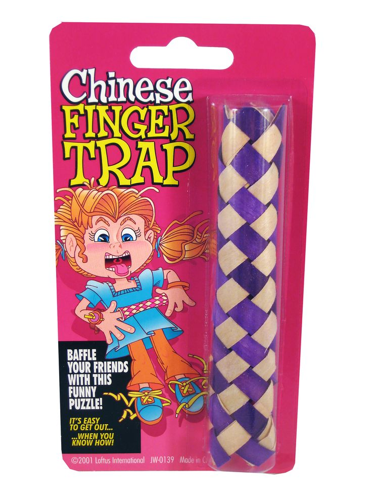 CHINESE FINGER TRAP... The Chinese Finger Trap is a classic funny puzzle. It's easy to get in but not to get out.... unless you know how! theonestopfunshop.com
