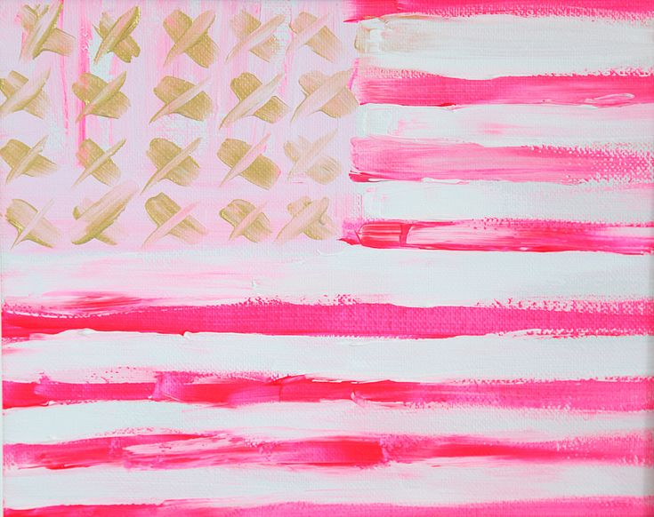 Pink Flag - an original painting by Jen Ramos at Cocoa & Hearts | cocoaandhearts.com