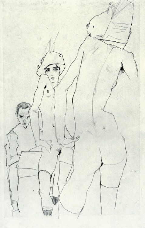 Egon Schiele, Drawing a Model in front of a Mirror, 1910.