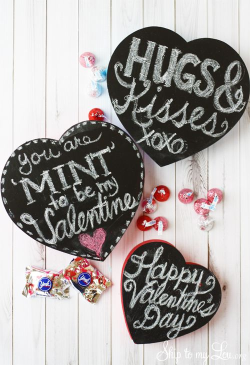 Chalkboard Heart Candy Boxes Valentine Idea: Valentines Ideas, Valentines Candy, Chalkboards Heart, Boxes Valentines, Chalkboards Crafts, Chalkboards Valentines, Diy Chalkboards, Candy Boxes, Valentines Chalkboards