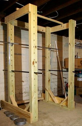 DIY power rackBuildings A Squats Racks, Garages Gym, Diy Workout Equipment, Diy Crossfit Equipment, Diy Squats Racks, Diy Power Rack, Crossfit Equipment Diy, Diy Crossfit Gym, Power Racks