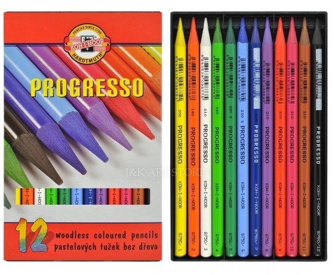 KOH-I-NOOR Progresso Woodless Colored Pencils 12 pieces set