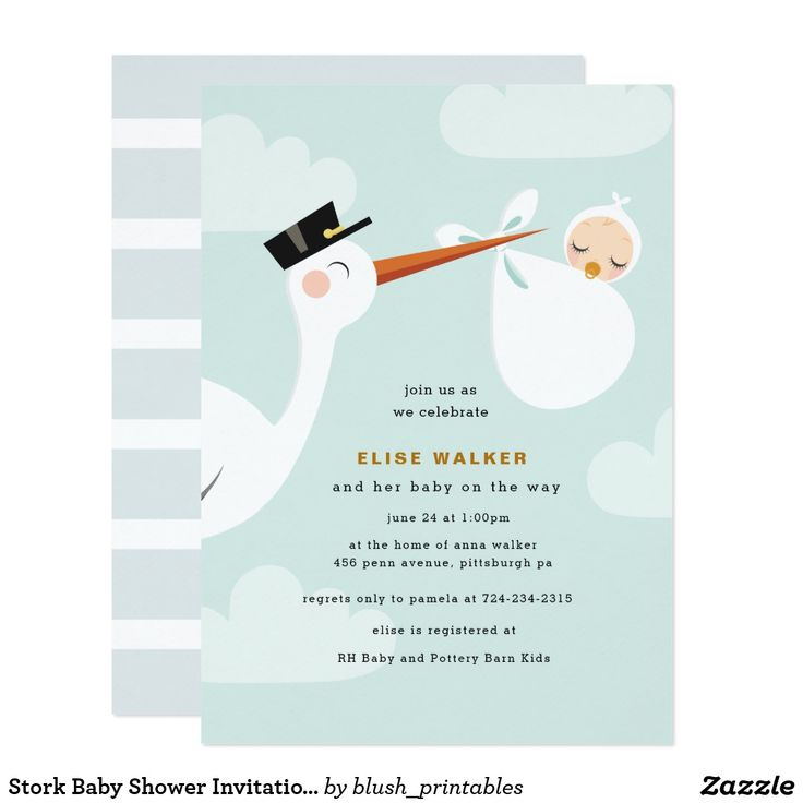 Stork Baby Shower Invitation With Clouds