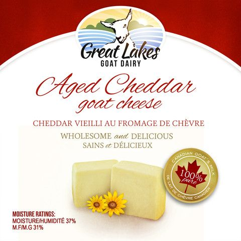 Aged Cheddar Goat Cheese – Great Lakes Goat Dairy