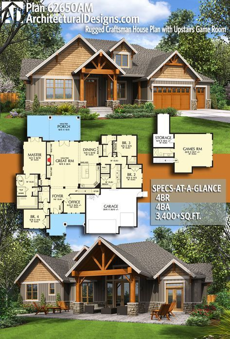 Plan 69650AM Rugged Craftsman House Plan with Upstairs Game Room in