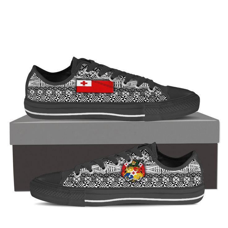 Men's/Women's Low Top Canvas Shoes - Tonga Flag