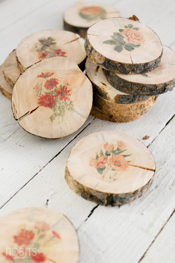 DIY wood slices with botanical print transfers