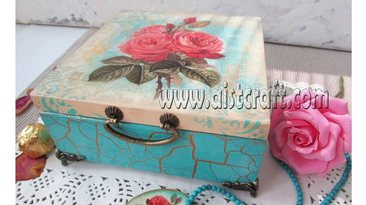 How to crackle paint. Decoupage box tutorial DIY. Vintage style.