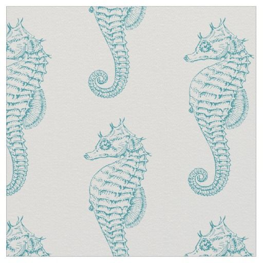 Teal #SeaHorse #Fabric