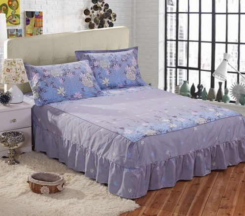 3D NEW Soft BED Fitted Sheet BED Skirt AND 2 Pillowcases Queen King Sizes