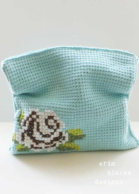 Cotton Brown Rose Bloom Clutch — DIY Tunisian Crochet Pattern for purchase over at Erin's Etsy shop. Another nice example of mixing cross stitch and crochet.
