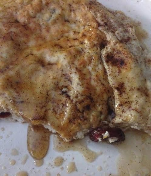 Protein Pancake:  Mix 1 scoop Dymatize 100 Whey Iso Protein Birthday Cake flavor + 3 egg whites (9 TBSP) + reduced sugar craisins & a sprinkle of cinnamon & pumpkin spice. Top it off with 1/2 TBSP organic coconut oil & sugar free syrup (or Walden Farms Blueberry Syrup). Expect a spongy like texture.