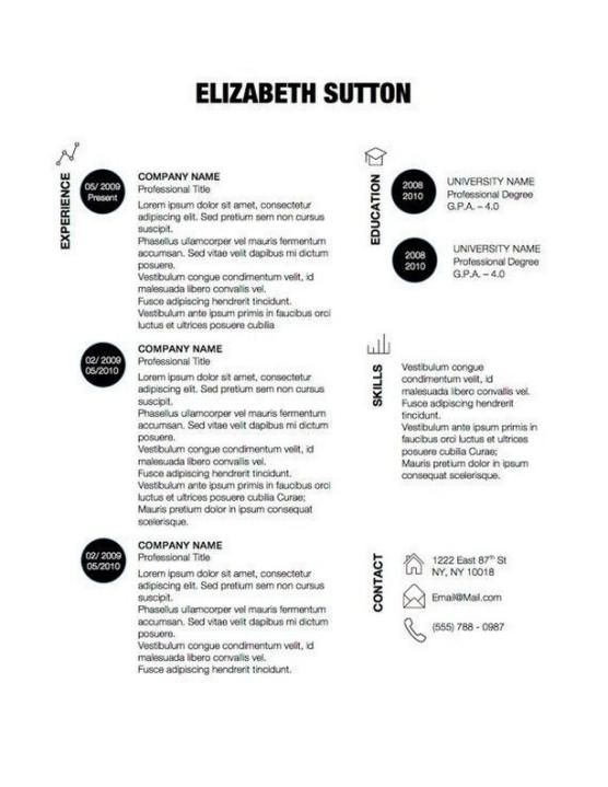 Creative Resume Template   Elizabeth Sutton   Black And White Resume D U2013  Original Resume Design