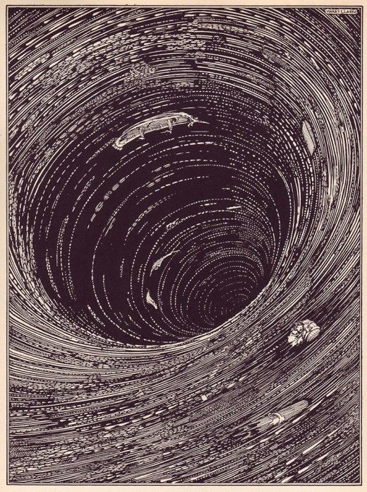 """This was similar to my dream last night. Edgar Allen Poe's """"Tales of Mystery and Imagination"""" by Harry Clark, 1919Black Hole, Ink Illustration, Edgar Allan Poe, Poe Tales, Shorts Stories, Edgar Allen Poe, Book Illustration, Harry Clarke, Innovation Design"""