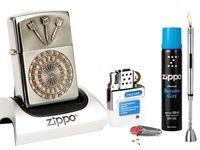 Zippo Feuerzeug Dartboard Emblem + Gas Set REIBRAD & R-S Stabfeuerzeug Chrome