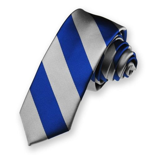 """Royal Blue and Silver Woven Striped Skinny Tie, 2"""" Width"""