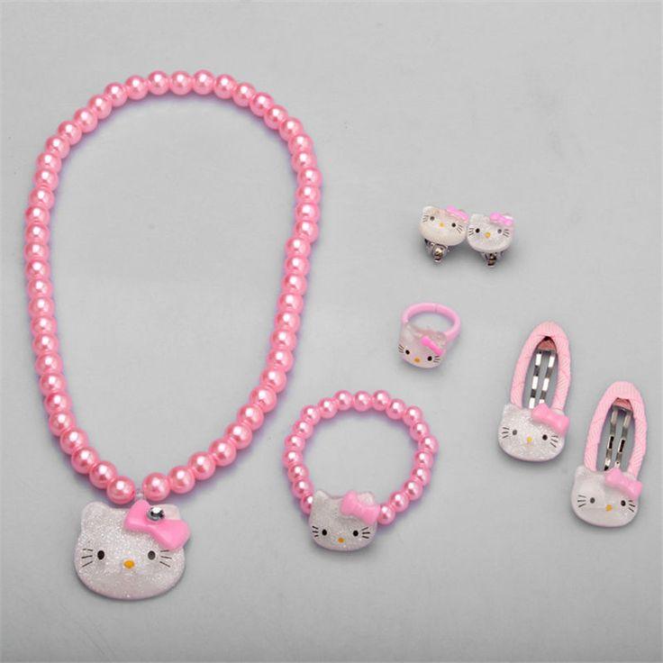 Bambini accessori per capelli set hello kitty accessori dei monili del braccialetto della collana dei monili 1 set = 7 pz tornante di alta qualità jq01