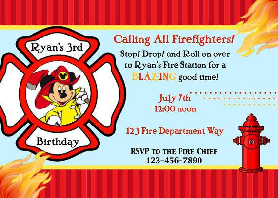 27 best images about Firefighter Mickey Mouse Birthday Party on – Firefighter Party Invitations