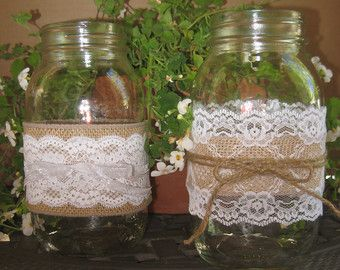 "Burlap Wedding Table Decorations   RUSTIC WEDDING DECORATIONS Burlap and Lace Mason Jar ""Sleeves"" Decor"