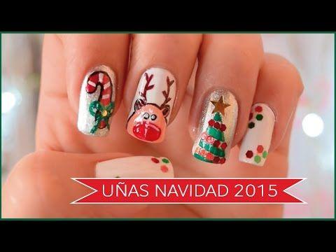 CÓMO DECORAR MIS UÑAS PARA (NAVIDAD) 2015 | Naila Londoño - YouTube