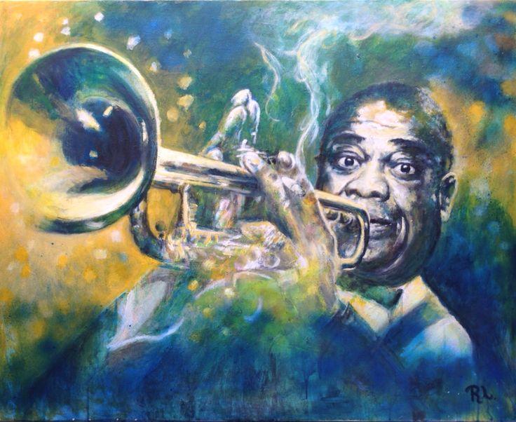 #Louis Armstrong#80x100#alkyd,acrylic#rithva.dk#