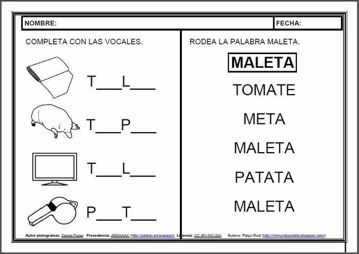 MATERIALES - Fichas de lectoescritura - T.    Fichas para el aprendizaje de la lectoescritura en letra mayúscula.    http://arasaac.org/materiales.php?id_material=983