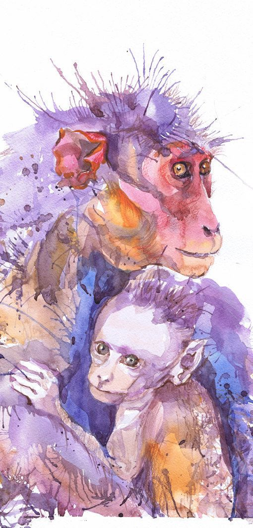 Monkey art, Monkey with baby, watercolor, monkey gift, animal nursery prints, monkey print, nursery decor, Baby Nursery, Jungle Nursery monkey with baby high quality fine art print of my original watercolor painting. It is the work of a watercolor series Portraits of the Heart   Size paper: 21 cm x 29,7 cm, 8 1/4 x 11.5/8, A4.(with white borders) - 18.00 $  29,7cm × 42cm, 11,69 × 16,54, A3(with white borders) - 36.00 $  Other dimensions are available upon request The paper used for ...